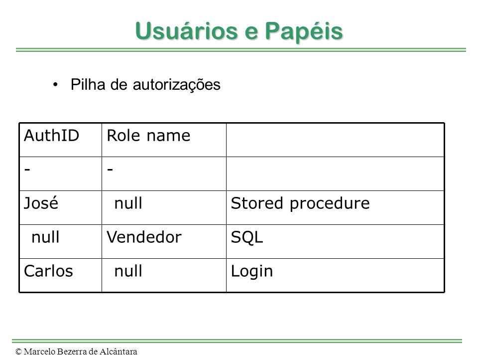 © Marcelo Bezerra de Alcântara Usuários e Papéis Pilha de autorizações Login no SO(null)Carlos SQL EmbutidoVendedor(null) Stored procedure(null)José -