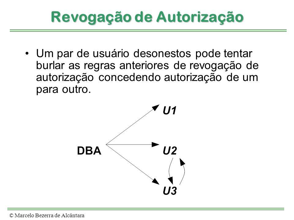 © Marcelo Bezerra de Alcântara Revogação de Autorização Um par de usuário desonestos pode tentar burlar as regras anteriores de revogação de autorizaç