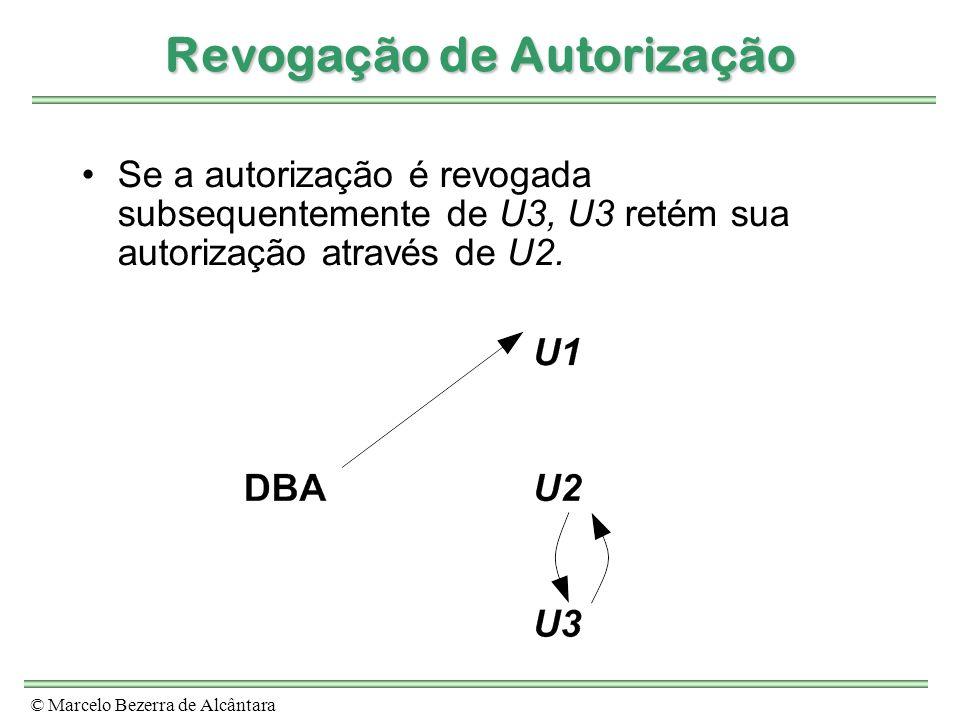 © Marcelo Bezerra de Alcântara Revogação de Autorização Se a autorização é revogada subsequentemente de U3, U3 retém sua autorização através de U2.