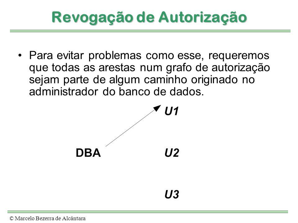 © Marcelo Bezerra de Alcântara Revogação de Autorização Para evitar problemas como esse, requeremos que todas as arestas num grafo de autorização seja