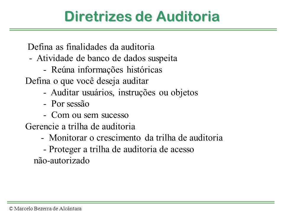 © Marcelo Bezerra de Alcântara Diretrizes de Auditoria Defina as finalidades da auditoria - Atividade de banco de dados suspeita - Reúna informações h