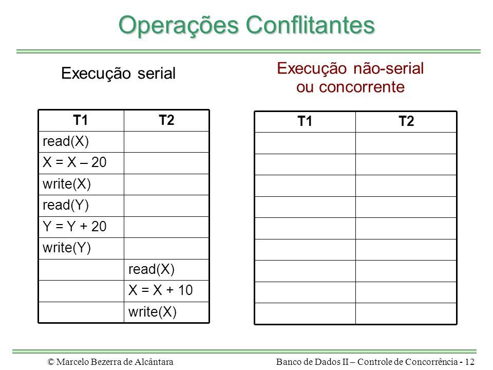 © Marcelo Bezerra de AlcântaraBanco de Dados II – Controle de Concorrência - 12 Operações Conflitantes write(X) X = X + 10 read(X) write(Y) Y = Y + 20 read(Y) write(X) X = X – 20 read(X) T2T1 T2T1 Execução serial Execução não-serial ou concorrente
