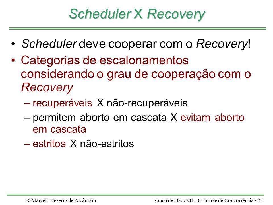 © Marcelo Bezerra de AlcântaraBanco de Dados II – Controle de Concorrência - 25 Scheduler X Recovery Scheduler deve cooperar com o Recovery.