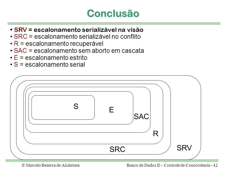 © Marcelo Bezerra de AlcântaraBanco de Dados II – Controle de Concorrência - 42 Conclusão SRV = escalonamento serializável na visão SRC = escalonamento serializável no conflito R = escalonamento recuperável SAC = escalonamento sem aborto em cascata E = escalonamento estrito S = escalonamento serial SRC R SAC E S SRV