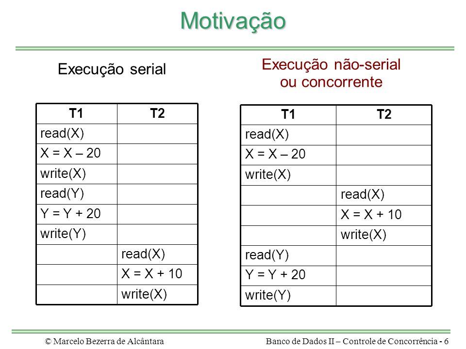 © Marcelo Bezerra de AlcântaraBanco de Dados II – Controle de Concorrência - 6 Motivação write(X) X = X + 10 read(X) write(Y) Y = Y + 20 read(Y) write(X) X = X – 20 read(X) T2T1 write(Y) Y = Y + 20 read(Y) write(X) X = X + 10 read(X) write(X) X = X – 20 read(X) T2T1 Execução serial Execução não-serial ou concorrente