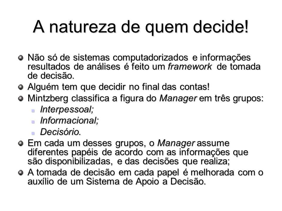 A natureza de quem decide! Não só de sistemas computadorizados e informações resultados de análises é feito um framework de tomada de decisão. Alguém