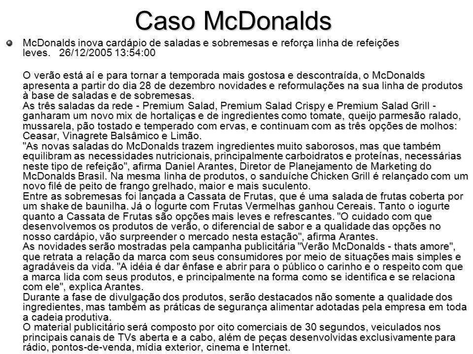 Caso McDonalds McDonalds inova cardápio de saladas e sobremesas e reforça linha de refeições leves. 26/12/2005 13:54:00 O verão está aí e para tornar