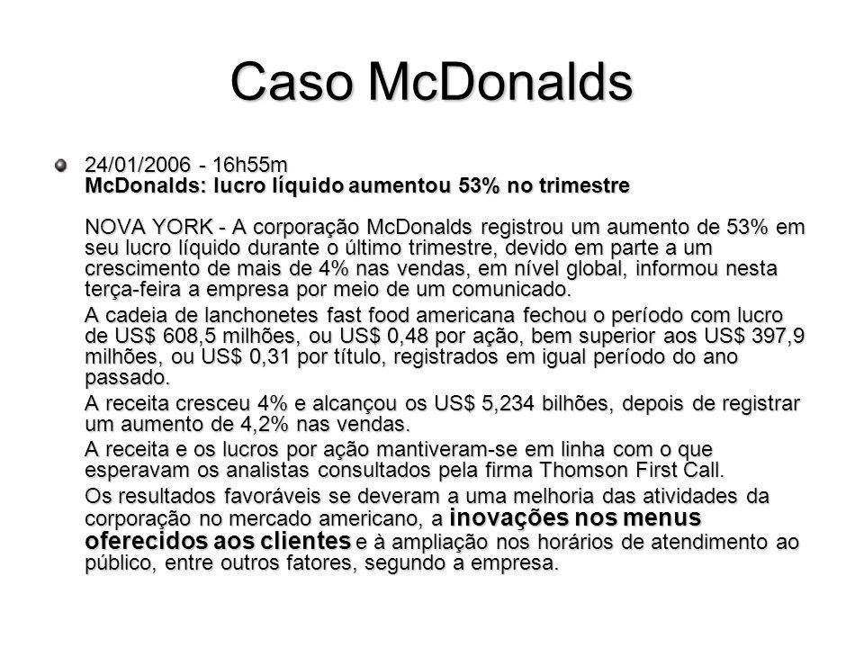 Caso McDonalds 24/01/2006 - 16h55m McDonalds: lucro líquido aumentou 53% no trimestre NOVA YORK - A corporação McDonalds registrou um aumento de 53% e