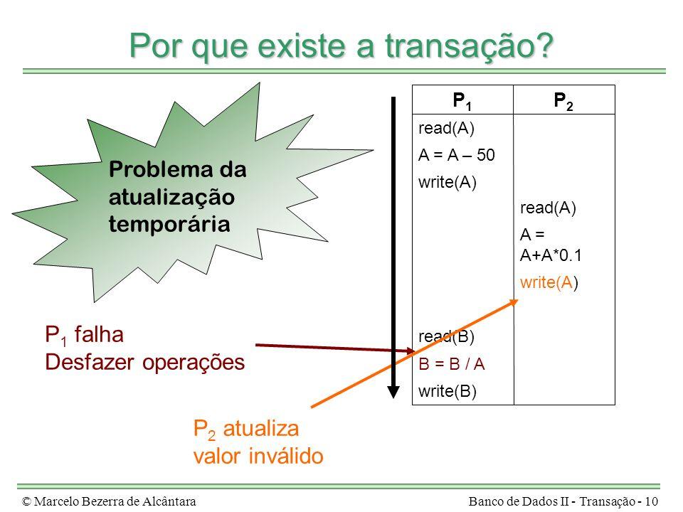 © Marcelo Bezerra de AlcântaraBanco de Dados II - Transação - 10 Por que existe a transação? write(B) B = B / A read(B) write(A) A = A+A*0.1 read(A) w