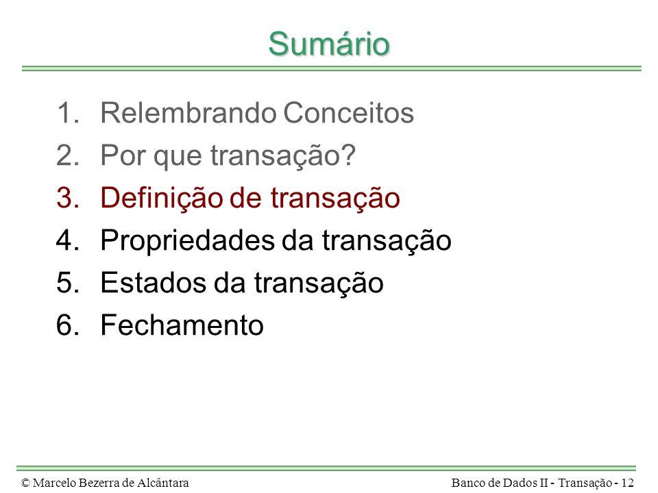 © Marcelo Bezerra de AlcântaraBanco de Dados II - Transação - 12 Sumário 1.Relembrando Conceitos 2.Por que transação? 3.Definição de transação 4.Propr