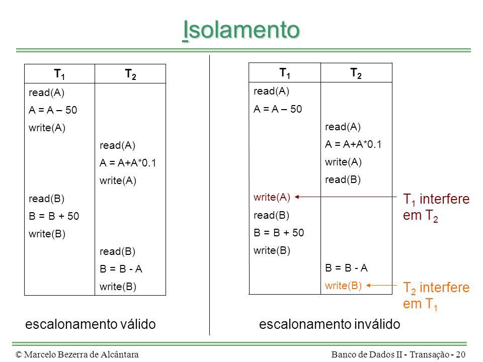 © Marcelo Bezerra de AlcântaraBanco de Dados II - Transação - 20 Isolamento write(B) B = B - A read(B) write(B) B = B + 50 read(B) write(A) A = A+A*0.