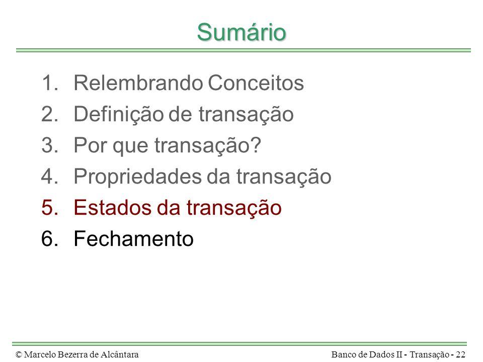 © Marcelo Bezerra de AlcântaraBanco de Dados II - Transação - 22 Sumário 1.Relembrando Conceitos 2.Definição de transação 3.Por que transação? 4.Propr