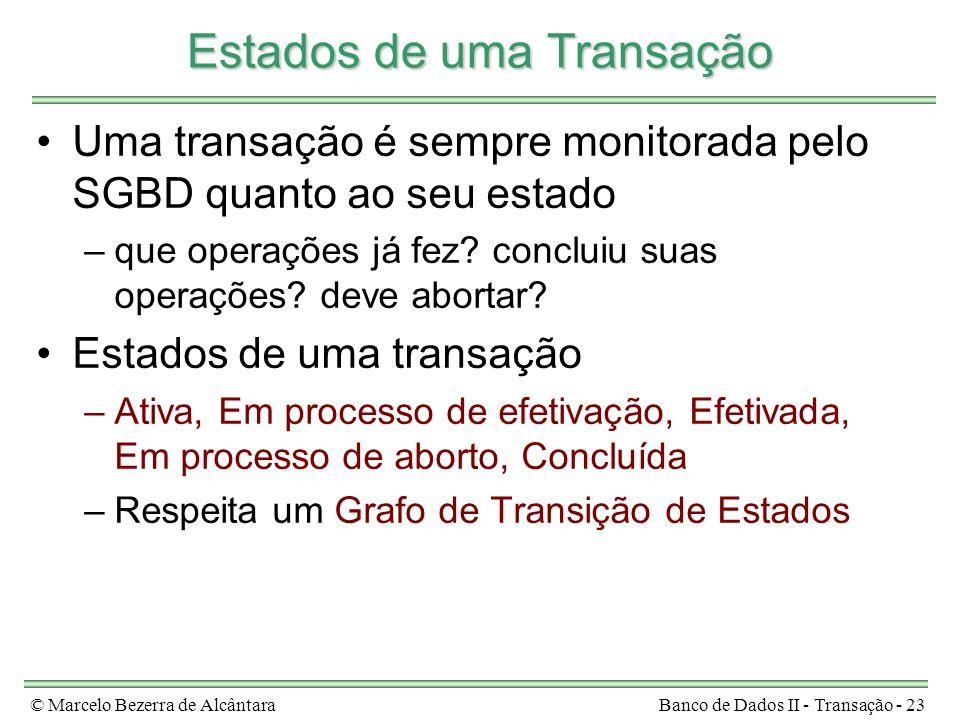 © Marcelo Bezerra de AlcântaraBanco de Dados II - Transação - 23 Estados de uma Transação Uma transação é sempre monitorada pelo SGBD quanto ao seu es