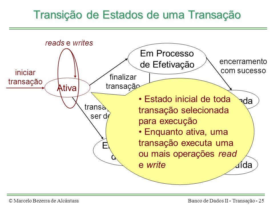 © Marcelo Bezerra de AlcântaraBanco de Dados II - Transação - 25 Ativa Em Processo de Efetivação Efetivada Em Processo de Aborto Concluída iniciar tra