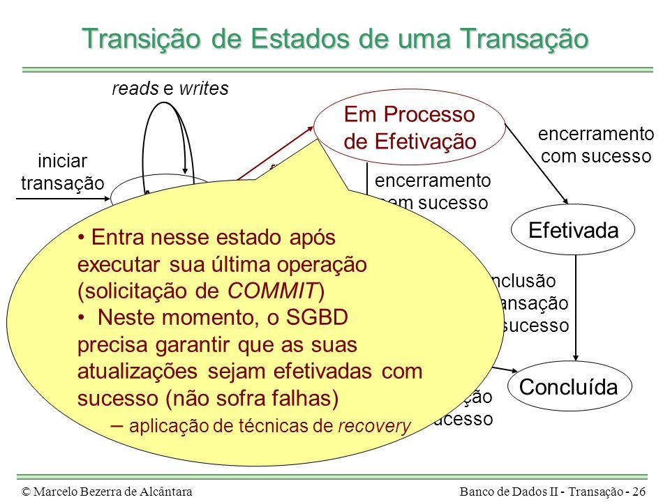 © Marcelo Bezerra de AlcântaraBanco de Dados II - Transação - 26 encerramento sem sucesso Ativa Em Processo de Efetivação Efetivada Em Processo de Abo