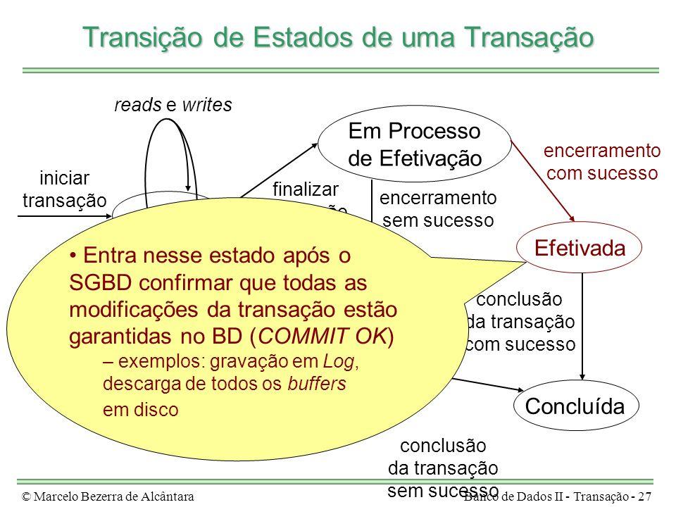 © Marcelo Bezerra de AlcântaraBanco de Dados II - Transação - 27 Ativa Em Processo de Efetivação Efetivada Em Processo de Aborto Concluída iniciar tra