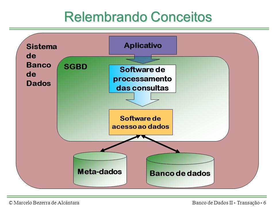 © Marcelo Bezerra de AlcântaraBanco de Dados II - Transação - 6 Sistema de Banco de Dados Relembrando Conceitos Meta-dados Banco de dados SGBD Softwar