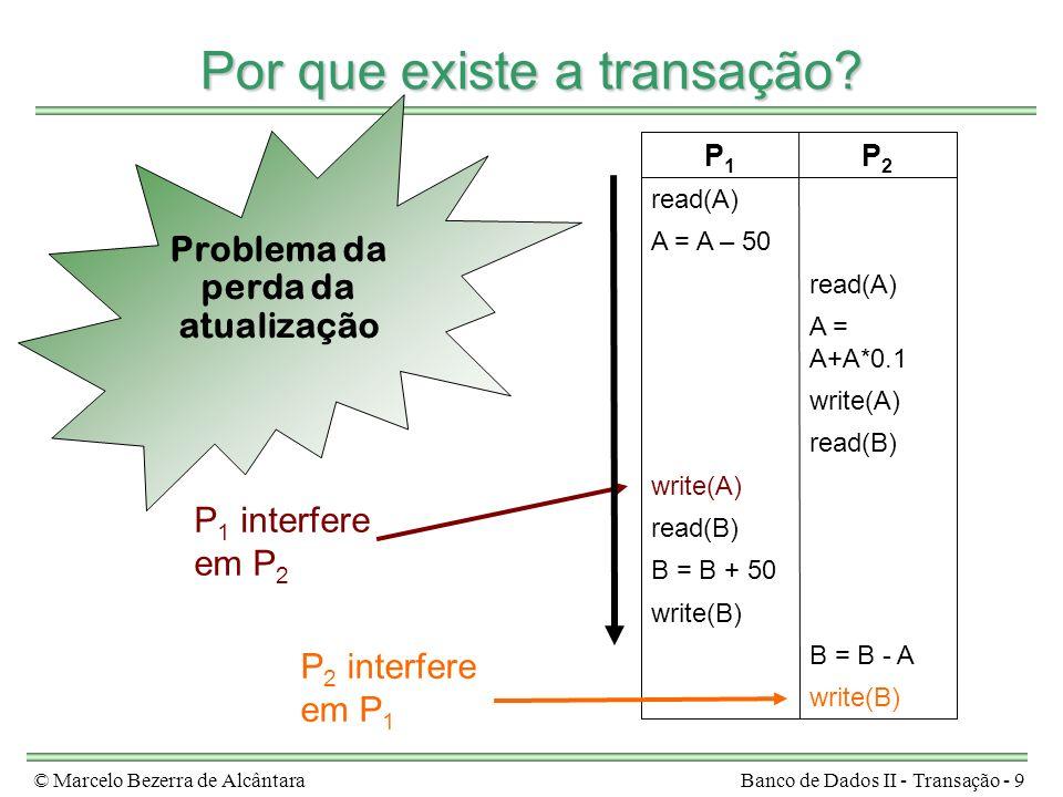 © Marcelo Bezerra de AlcântaraBanco de Dados II - Transação - 20 Isolamento write(B) B = B - A read(B) write(B) B = B + 50 read(B) write(A) A = A+A*0.1 read(A) write(A) A = A – 50 read(A) T2T2 T1T1 write(B) B = B - A write(B) B = B + 50 read(B) write(A) read(B) write(A) A = A+A*0.1 read(A) A = A – 50 read(A) T2T2 T1T1 escalonamento válidoescalonamento inválido T 1 interfere em T 2 T 2 interfere em T 1