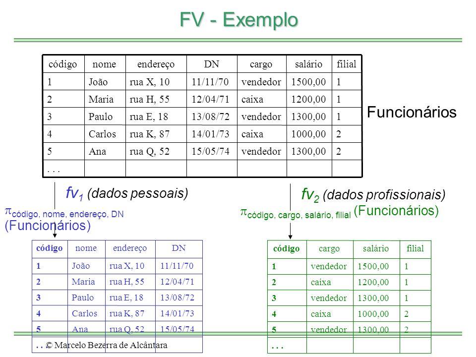 © Marcelo Bezerra de Alcântara FV - Exemplo 21300,00vendedor15/05/74rua Q, 52Ana5...