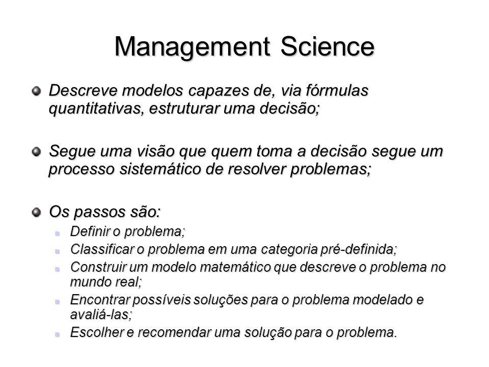 Management Science Descreve modelos capazes de, via fórmulas quantitativas, estruturar uma decisão; Segue uma visão que quem toma a decisão segue um p