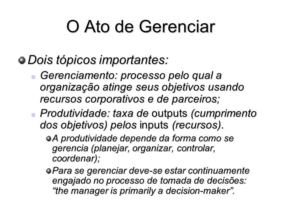 O Ato de Gerenciar Dois tópicos importantes: Gerenciamento: processo pelo qual a organização atinge seus objetivos usando recursos corporativos e de p