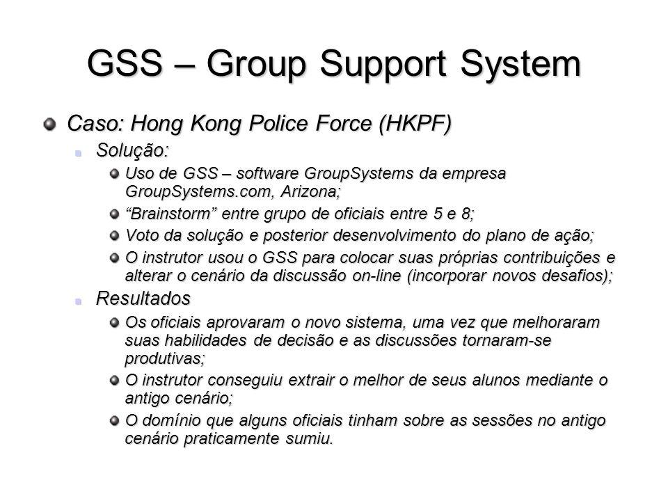 GSS – Group Support System Caso: Hong Kong Police Force (HKPF) Solução: Solução: Uso de GSS – software GroupSystems da empresa GroupSystems.com, Arizo