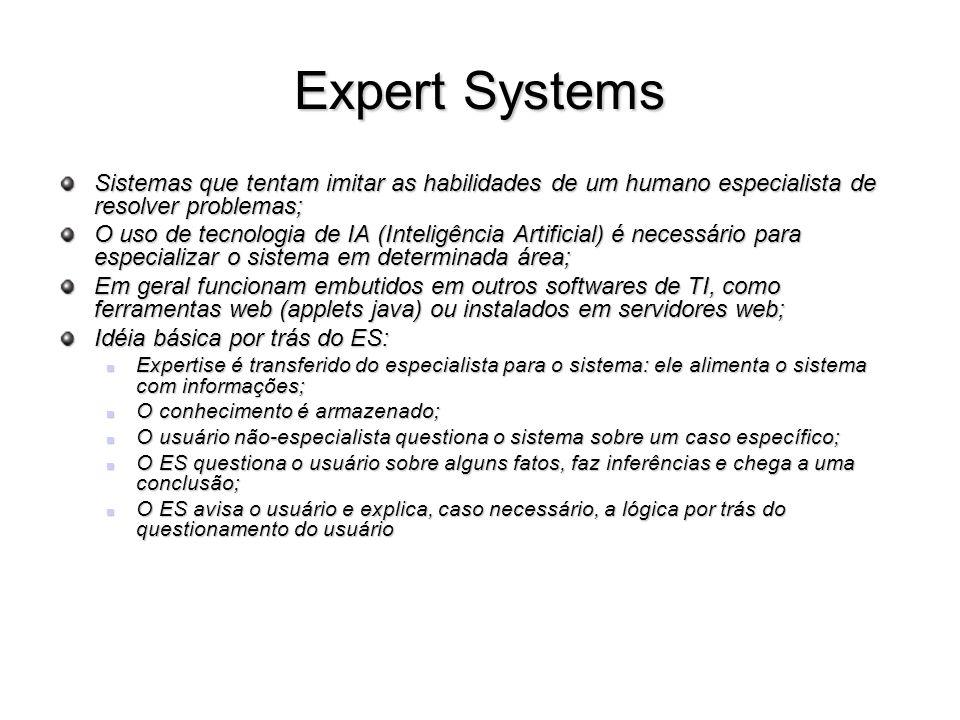 Expert Systems Sistemas que tentam imitar as habilidades de um humano especialista de resolver problemas; O uso de tecnologia de IA (Inteligência Arti