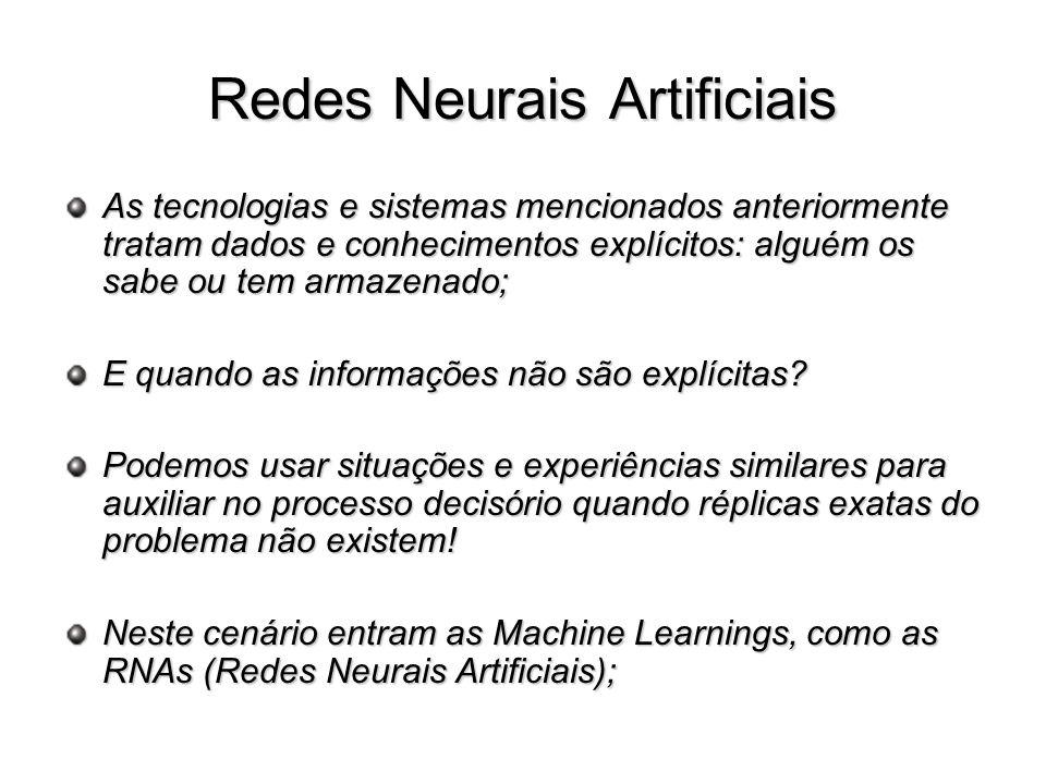 Redes Neurais Artificiais As tecnologias e sistemas mencionados anteriormente tratam dados e conhecimentos explícitos: alguém os sabe ou tem armazenad