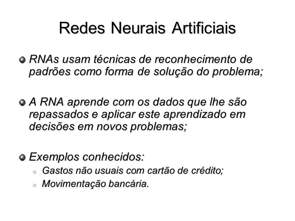 Redes Neurais Artificiais RNAs usam técnicas de reconhecimento de padrões como forma de solução do problema; A RNA aprende com os dados que lhe são re