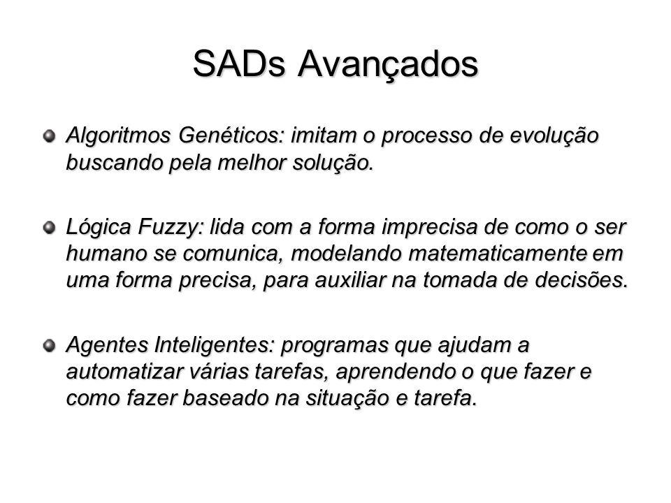 SADs Avançados Algoritmos Genéticos: imitam o processo de evolução buscando pela melhor solução. Lógica Fuzzy: lida com a forma imprecisa de como o se