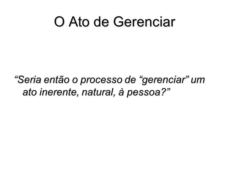 O Ato de Gerenciar Seria então o processo de gerenciar um ato inerente, natural, à pessoa?