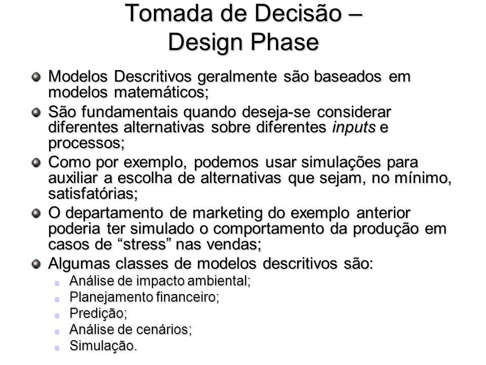 Tomada de Decisão – Design Phase Modelos Descritivos geralmente são baseados em modelos matemáticos; São fundamentais quando deseja-se considerar dife