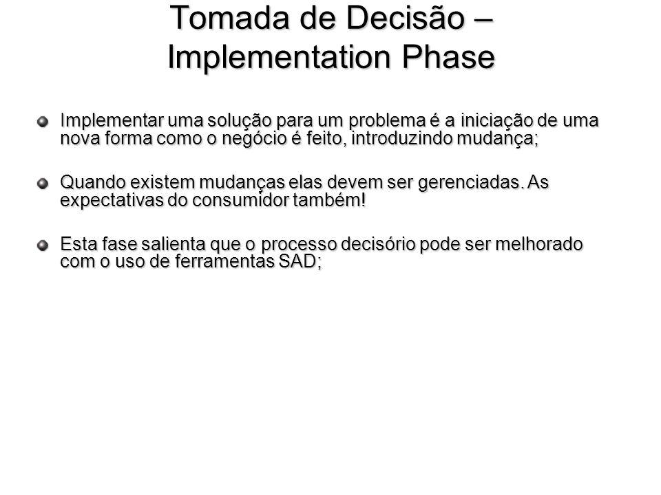 Tomada de Decisão – Implementation Phase Implementar uma solução para um problema é a iniciação de uma nova forma como o negócio é feito, introduzindo