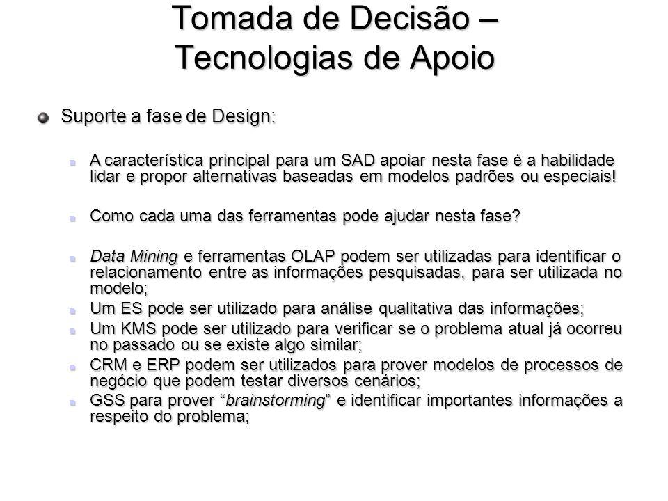 Tomada de Decisão – Tecnologias de Apoio Suporte a fase de Design: A característica principal para um SAD apoiar nesta fase é a habilidade lidar e pro