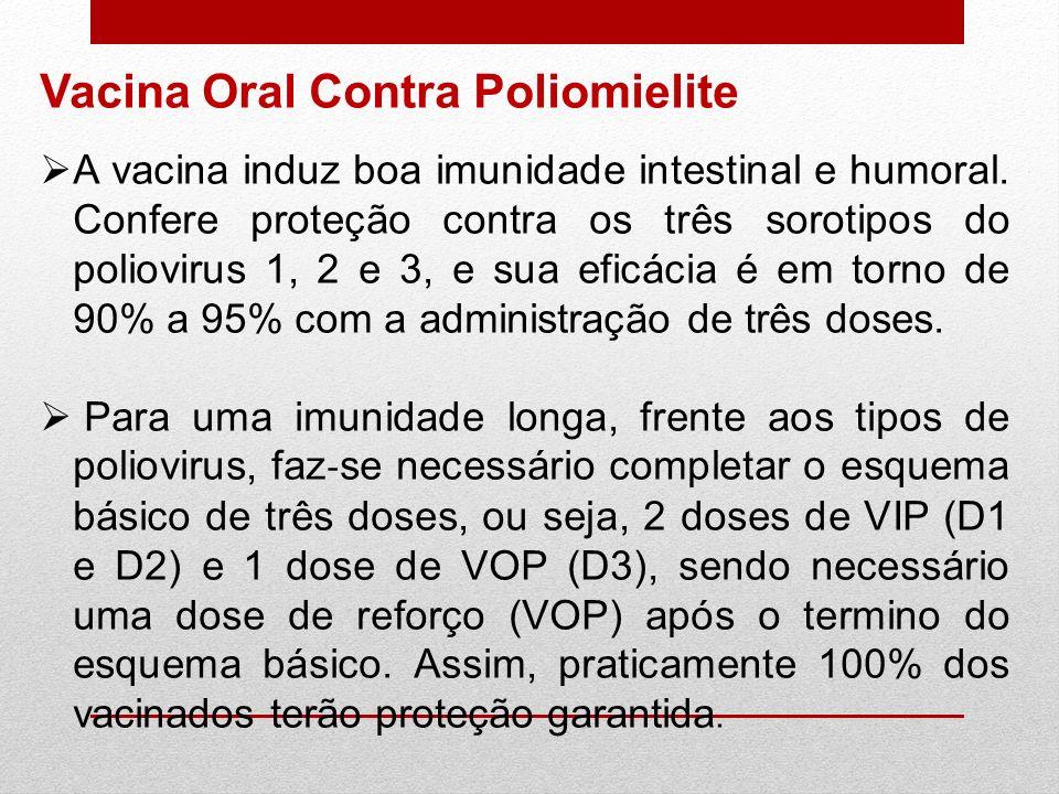 A vacina induz boa imunidade intestinal e humoral. Confere proteção contra os três sorotipos do poliovirus 1, 2 e 3, e sua eficácia é em torno de 90%