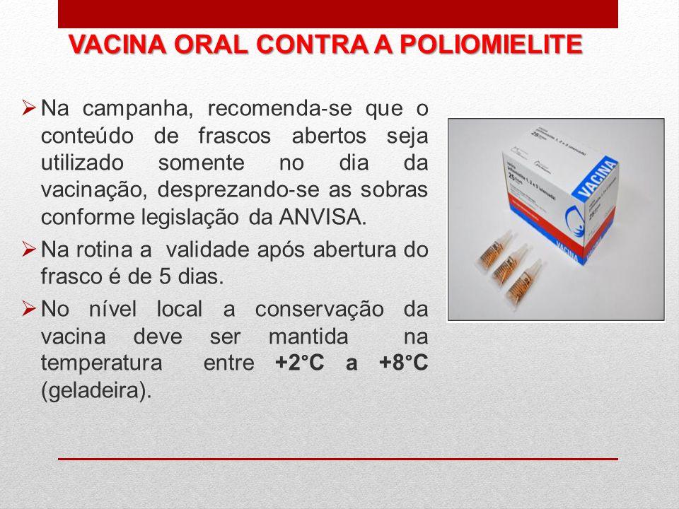 VACINA ORAL CONTRA A POLIOMIELITE Na campanha, recomenda se que o conteúdo de frascos abertos seja utilizado somente no dia da vacinação, desprezando