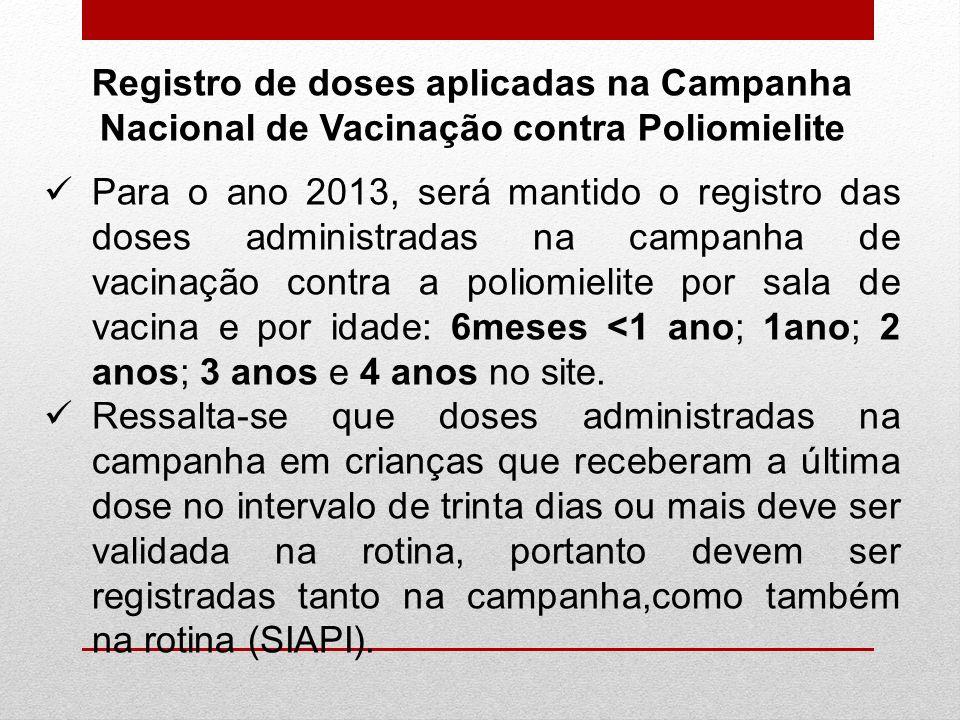Para o ano 2013, será mantido o registro das doses administradas na campanha de vacinação contra a poliomielite por sala de vacina e por idade: 6meses