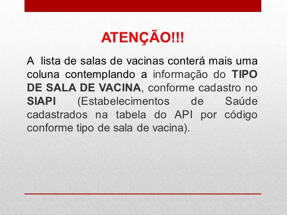 A lista de salas de vacinas conterá mais uma coluna contemplando a informação do TIPO DE SALA DE VACINA, conforme cadastro no SIAPI (Estabelecimentos