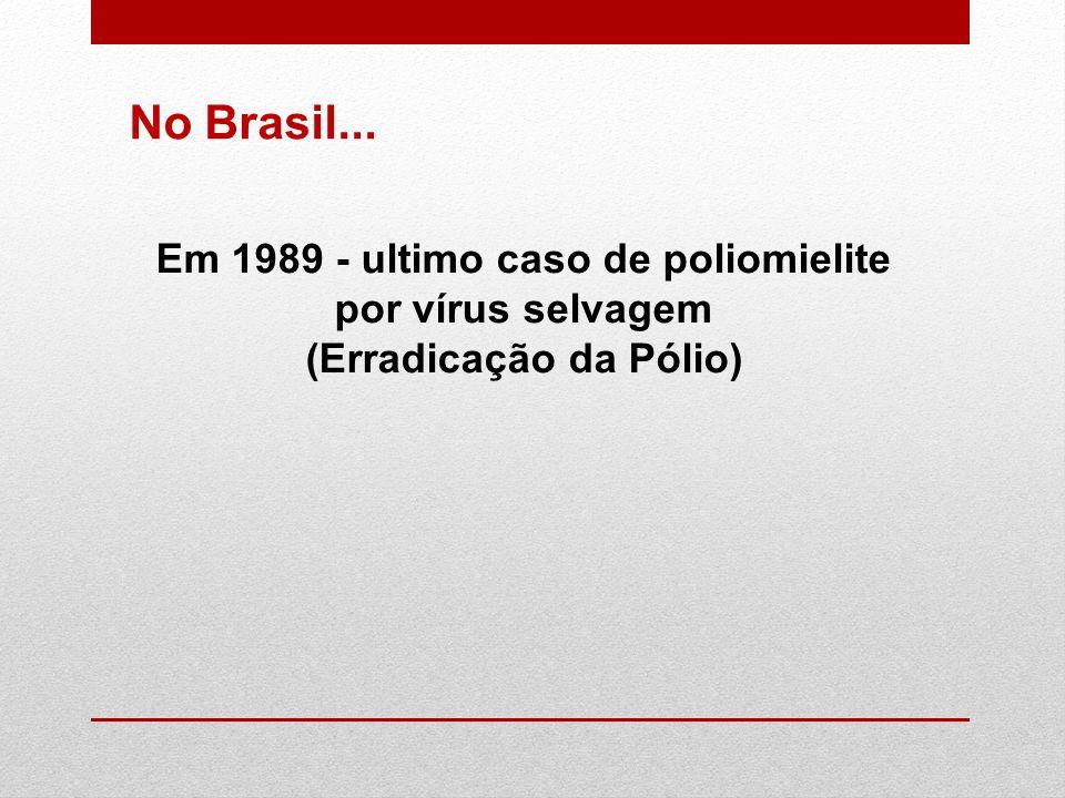 Em 1989 - ultimo caso de poliomielite por vírus selvagem (Erradicação da Pólio) No Brasil...