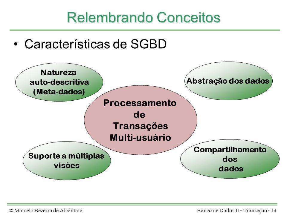 © Marcelo Bezerra de AlcântaraBanco de Dados II - Transação - 14 Relembrando Conceitos Características de SGBD Natureza auto-descritiva (Meta-dados) A