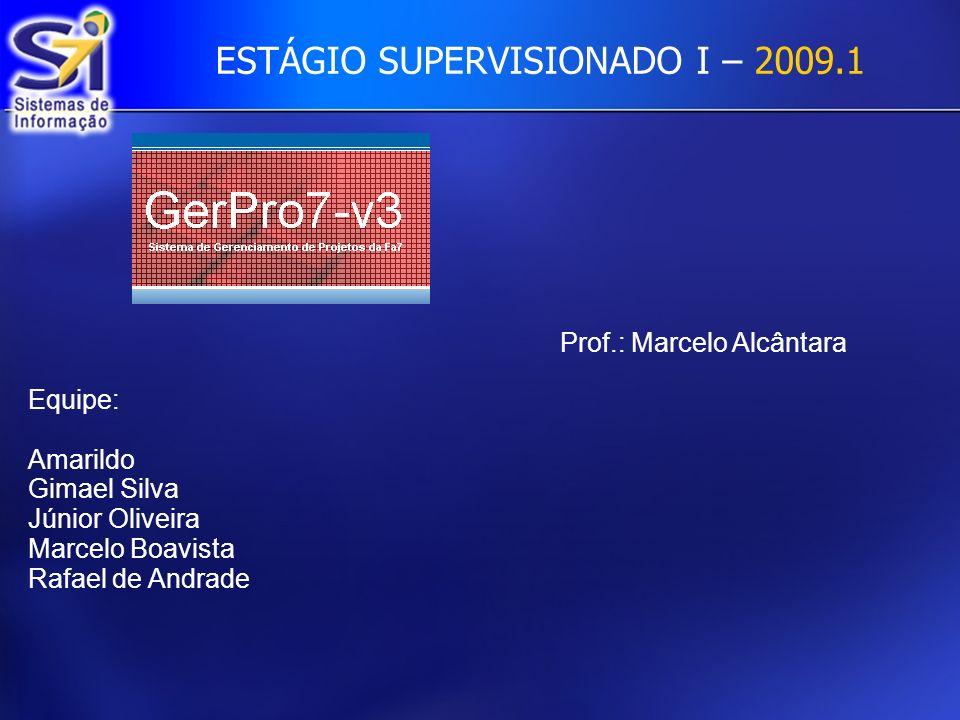 ESTÁGIO SUPERVISIONADO I – 2009.1 Prof.: Marcelo Alcântara Equipe: Amarildo Gimael Silva Júnior Oliveira Marcelo Boavista Rafael de Andrade