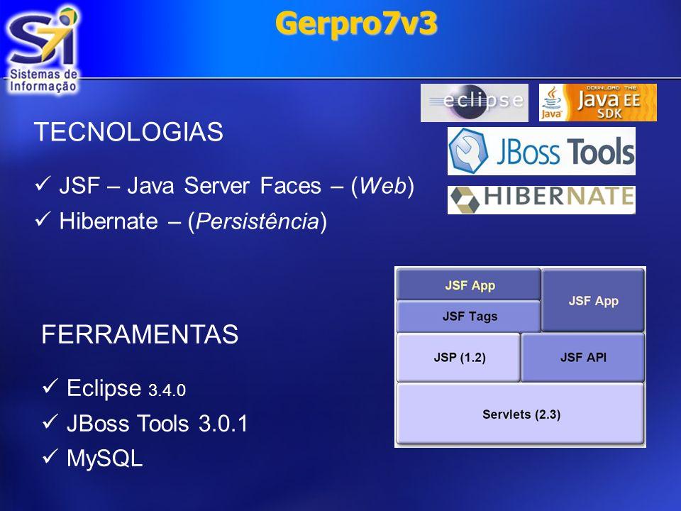 Gerpro7v3 Dificuldades Equipe com pouco ou nenhum conhecimento em Java; Problemas na configuração do JBoss Tools com a o Eclipse Ganymede;