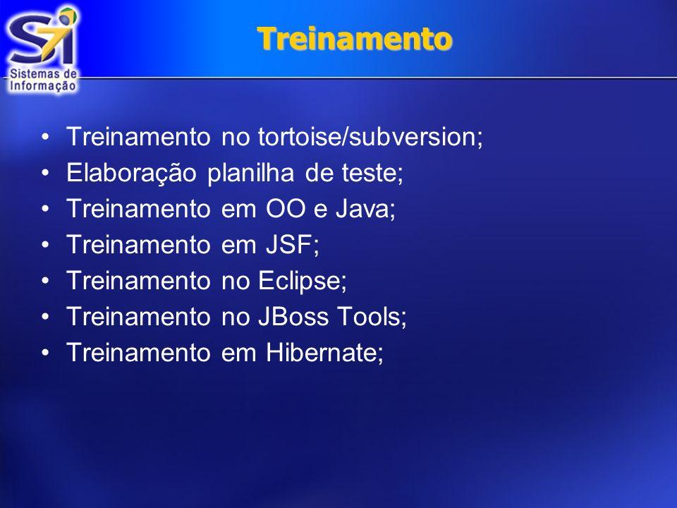 Treinamento Treinamento no tortoise/subversion; Elaboração planilha de teste; Treinamento em OO e Java; Treinamento em JSF; Treinamento no Eclipse; Tr