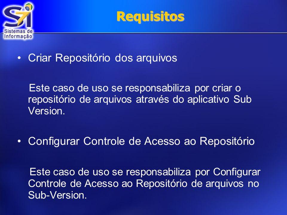 Requisitos Criar Repositório dos arquivos Este caso de uso se responsabiliza por criar o repositório de arquivos através do aplicativo Sub Version. Co