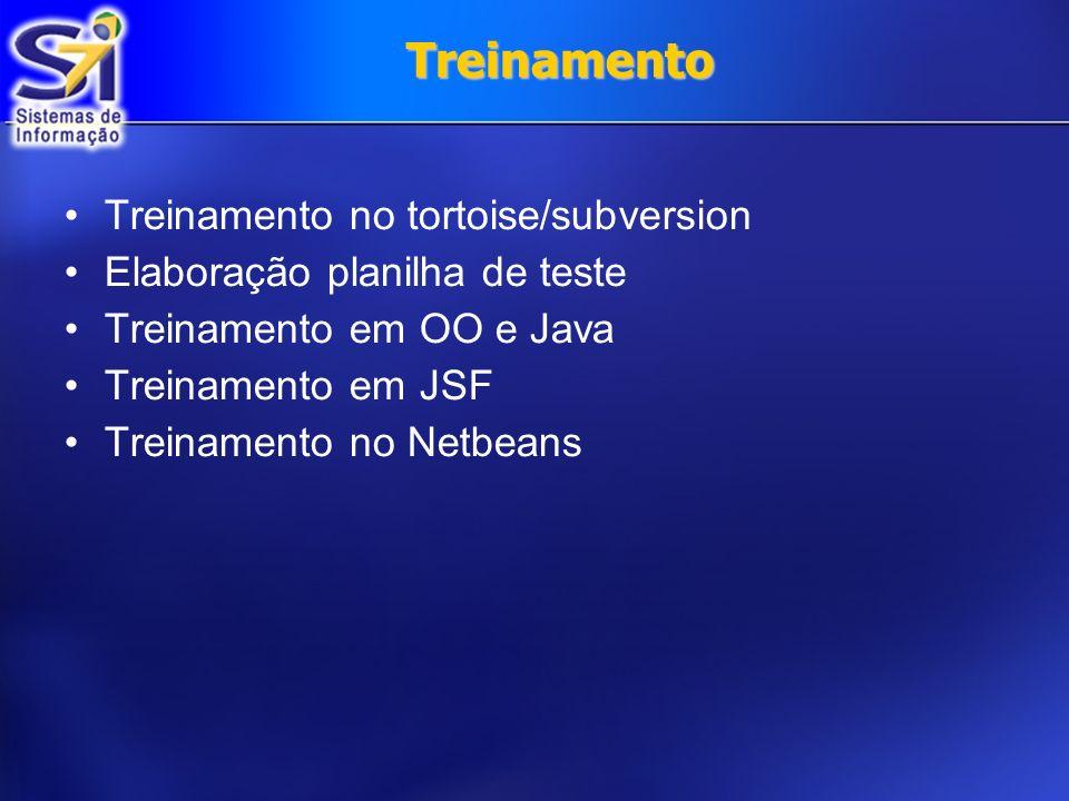 Treinamento Treinamento no tortoise/subversion Elaboração planilha de teste Treinamento em OO e Java Treinamento em JSF Treinamento no Netbeans