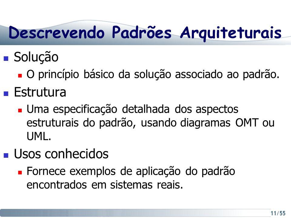 11/55 Descrevendo Padrões Arquiteturais Solução O princípio básico da solução associado ao padrão. Estrutura Uma especificação detalhada dos aspectos