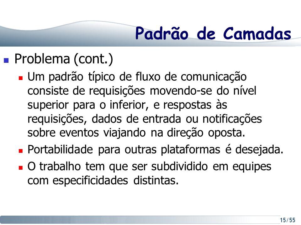 15/55 Padrão de Camadas Problema (cont.) Um padrão típico de fluxo de comunicação consiste de requisições movendo-se do nível superior para o inferior