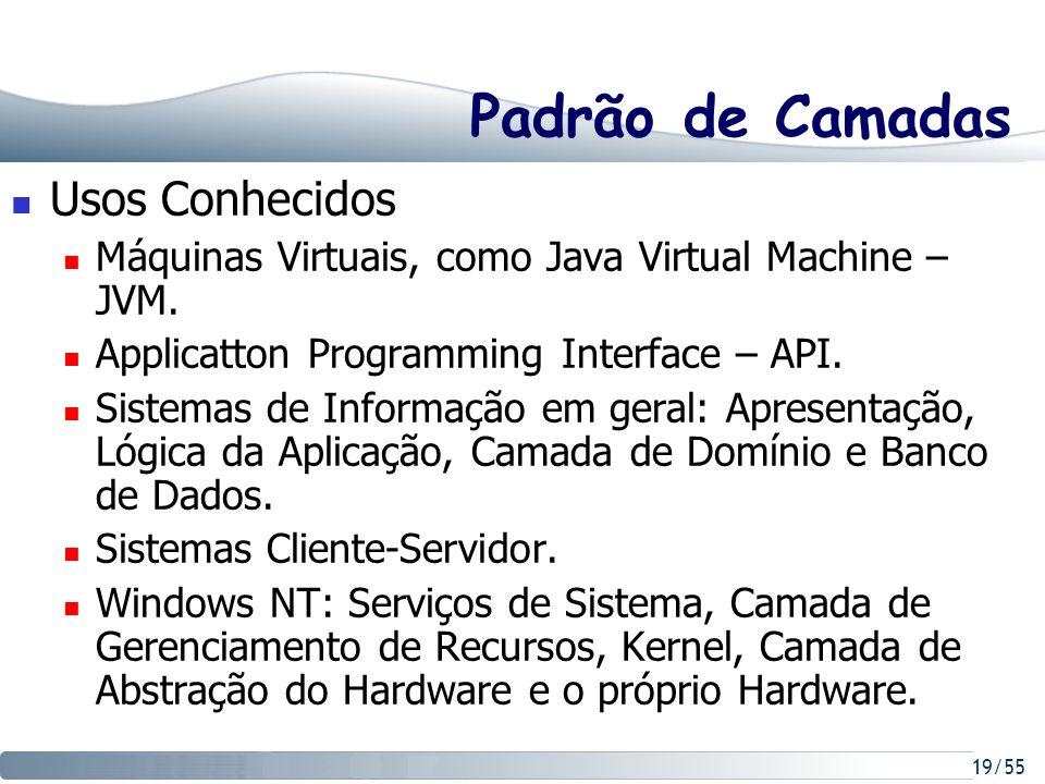 19/55 Padrão de Camadas Usos Conhecidos Máquinas Virtuais, como Java Virtual Machine – JVM. Applicatton Programming Interface – API. Sistemas de Infor