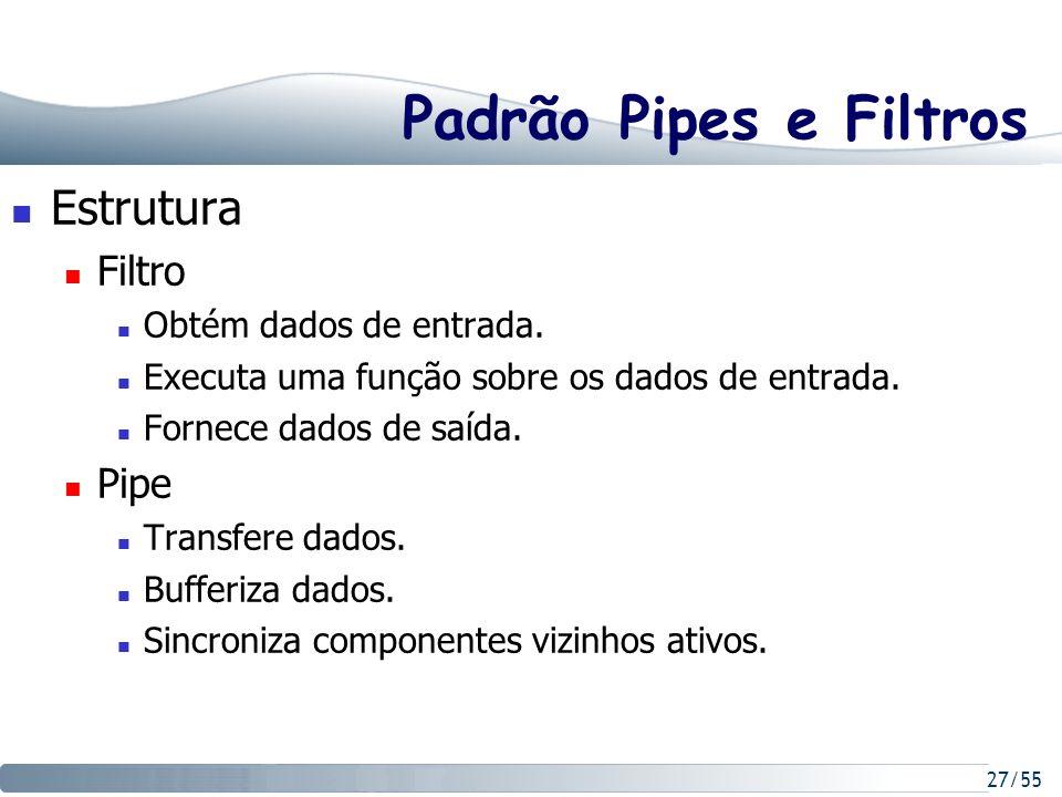 27/55 Padrão Pipes e Filtros Estrutura Filtro Obtém dados de entrada. Executa uma função sobre os dados de entrada. Fornece dados de saída. Pipe Trans