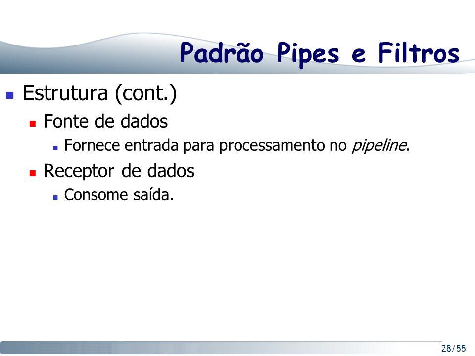 28/55 Padrão Pipes e Filtros Estrutura (cont.) Fonte de dados Fornece entrada para processamento no pipeline. Receptor de dados Consome saída.